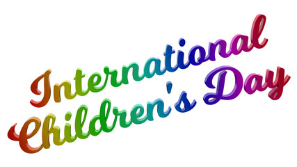 International Children's Day Calligraphic 3D Rendered Text Illustration Colored With RGB Rainbow Gradient, Isolated On White Background