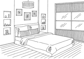 Bedroom graphic black white interior sketch illustration vector