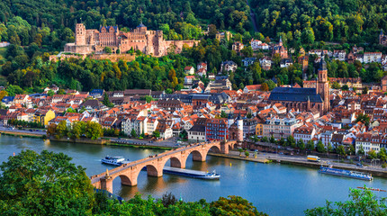 Landmarks and beautiful towns of Germany - medieval  Heidelberg ,view with Karl Theodor bridge and castle Fototapete