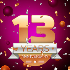 Realistic Thirteen Years Anniversary Celebration Design. Golden numbers and silver ribbon, confetti on purple background. Colorful Vector template elements for your birthday party