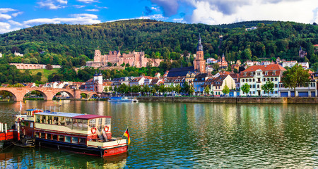 Fototapete - Landmarks and beautiful places of Germany - medieval Heidelberg city