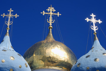 Architecture of Trinity Serguis Lavra, Sergiyev Posad, Russia. UNESCO World Heritage Site. Color photo.