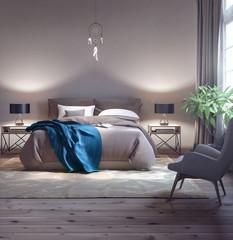 Classic bedroom design 3d Rendering