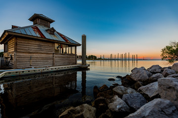 Lake Cabin Oceanfront sunset