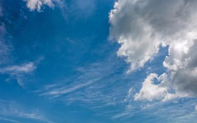 grey cloud on a blue summer sky