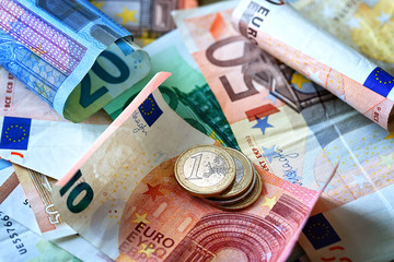 Money background. Euro currency as a background.