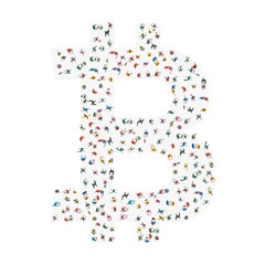 Bitcoin crypto currency blockchain.People top view isolated on white background. A group of social people.