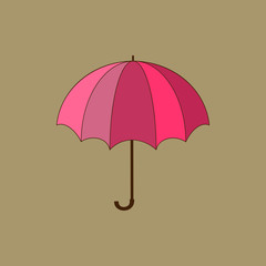 Umbrella red on brown background