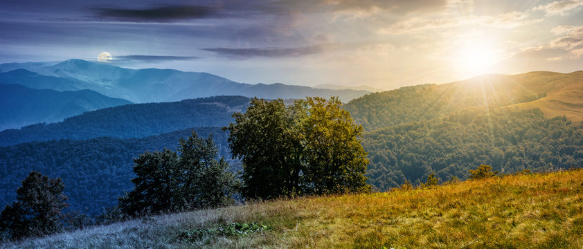 beautiful Carpathian panorama time concept