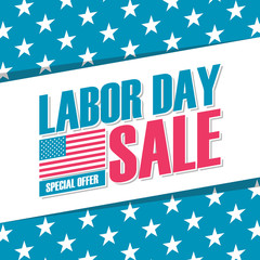 United States Labor Day sale banner. Special offer background for business, promotion and advertising. Vector illustration.