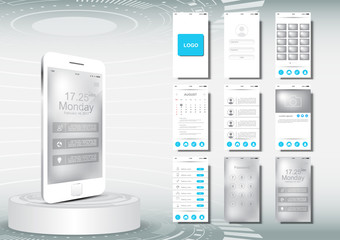 UI, UX for mobile application template, clean design