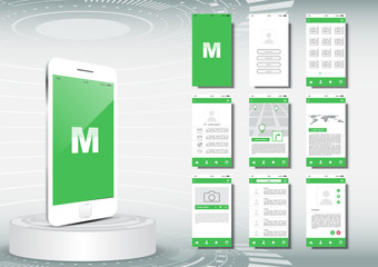 UI, UX for mobile application template, green theme some Elements of this image furnished by NASA