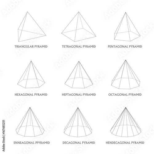 3d pyramids template realistic with shadow stock image and royalty
