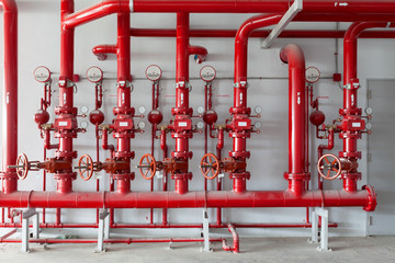 Door stickers Industrial building Red water pipe valve,pipe for water piping system control in industrial building.