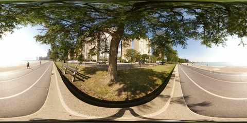 360vr image of Lakefront Trail on Lake Michigan Chicago USA