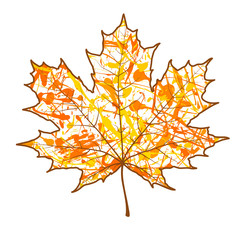 A autumn maple leaf and paint splashes , drops, blots