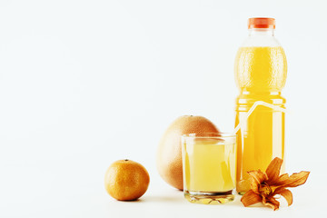 Citrus fruits and juice in the bottle