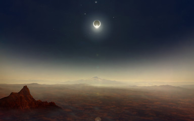 Total solar eclipse in dark sky with stars