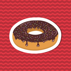 Sticker of glazed donut on red striped background. Graphic design elements for menu, poster, brochure. Vector illustration of fast food for bistro, snackbar, cafe or restaurant