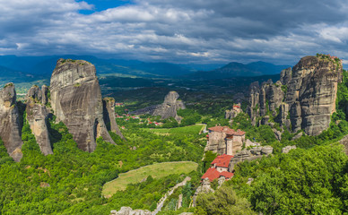 Landscape with monasteries and rock formations in Meteora, Greece.