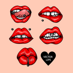 Set of red lips with piercings. Fashion patch badges with sexy lips.