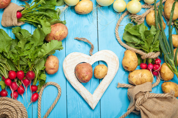 Fresh vegetables on a rustic blue background