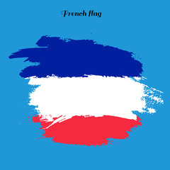 Inscription French, background colors of the French flag. Calligraphy handmade greeting cards, posters phrase French. Background watercolor brush