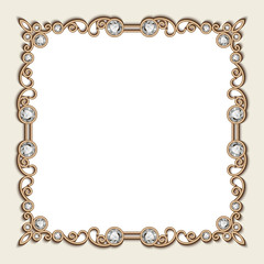 Vintage gold background, square jewelry frame