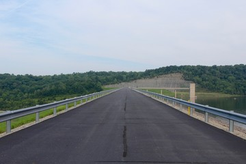 The road on top of the lake dam.