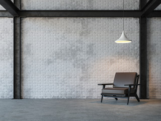 Loft style living room 3d rendering image.There are white brick wall,polished concrete floor and black steel structure.Furnished with dark brown leather armchair