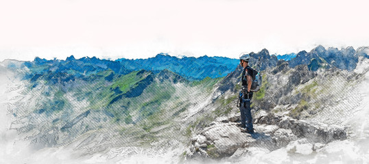 Panorama banner of a mountaineer on a summit