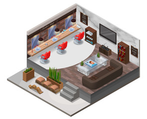 Isometric barber shop interior, hipster hair salon design with modern wooden furniture, marble wall, barbershop chair, sofa, terrarium plant, bicycle, hairdresser accessories, beauty studio layout
