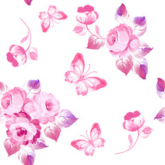 Seamless pattern roses and butterflies. Watercolor painting. Vector illustration