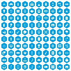 100 energy icons set blue