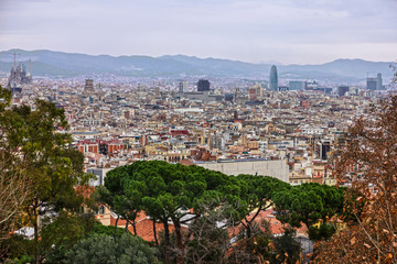 Barcelona architecture panoramic landscape, Spain