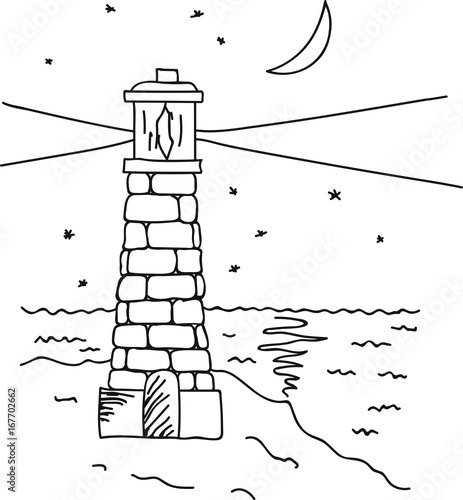 Hand Drawn Vector Illustration Lighthouse On Sea Coast Night Sky Stars Moon Glade