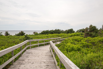 The boardwalk to the beach at Robinsons Island on PEI