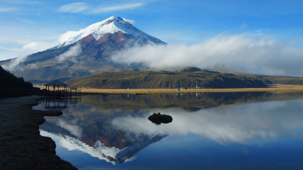 Poster Reflection View of the Limpiopungo lagoon with the Cotopaxi volcano reflected in the water on a cloudy morning - Ecuador