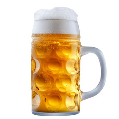 Papiers peints Biere, Cidre Mug of frosty light beer with foam isolated on a white background