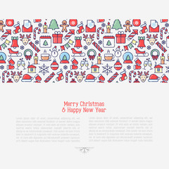 Christmas celebration concept with thin line New Year and Christmas symbols for web page, banner, invitation, greeting card, print media. Vector illustration.