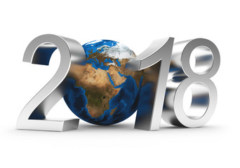 Silver numbers 2018 New Year and planet Earth isolated on white. Elements of this image furnished by NASA. 3D illustration