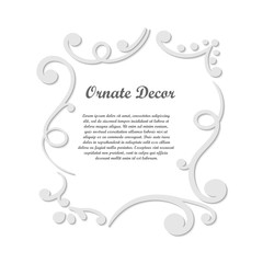Vector decorative element for design. Frame template with place for text. Fine floral border. Lace decor. Elegant art for birthday and greeting card, wedding invitation.