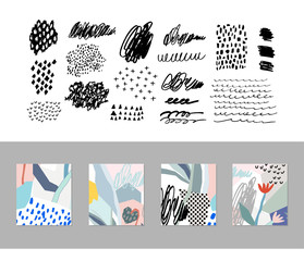 Collection of different homemade textures made by marker plus set of creative cards.