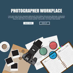 Photographer Workplace Concept,Web site Header. Modern Flat designed vector illustration
