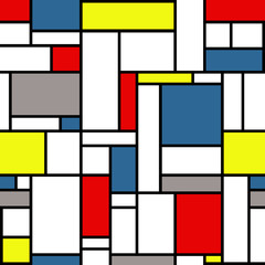 Mondrian style pattern with white, black, yellow, red, gray and blue, colors