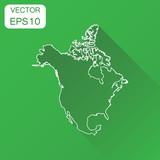 North America map icon Flat vector illustration North America