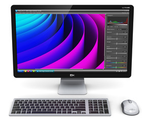 Desktop computer PC with photo editor software