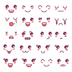 Kawaii cute faces, Kawaii emoticons, adorable characters icons design
