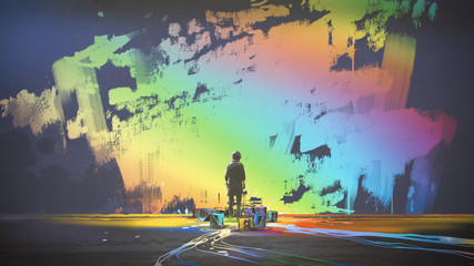 man paints colorful brush stroke in the air with magic brush, digital art style, illustration painting Wall mural