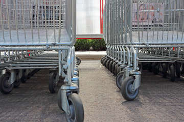 Vilnius, Lithuania - August 05, 2017: Wheels of shopping trolleys close-up. Shiny trolleys. Shopping concept.